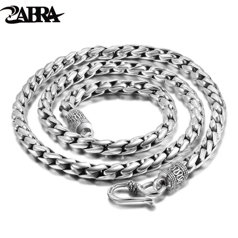 Zabra sólido 925 prata esterlina 5mm 55cm vintage longo corrente colares para homens steampunk retro rock moda homem jóias esterlinas