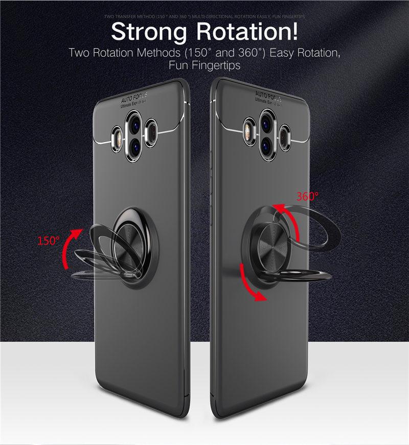 Funda de silicona para Huawei Mate 10 ALP L29 L09 soporte de coche soporte de dedo magnético para Huawei Mate 10 ALP-L29 ALP-L09
