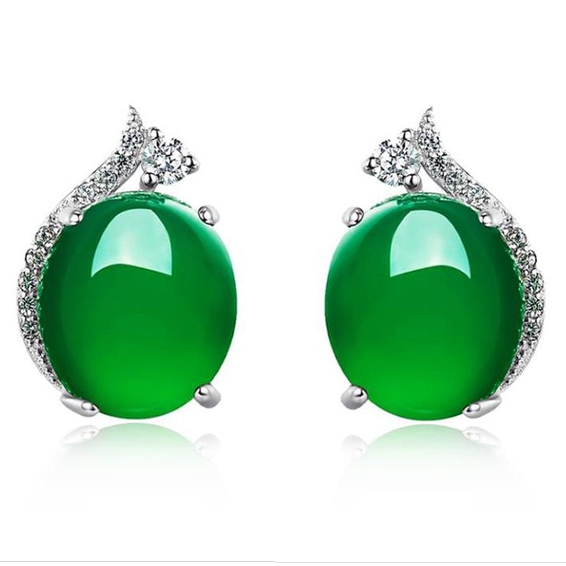 Peridot Silver Color S925 Jewelry Stud Earrings for Women Round Simple Crown Jade Earrings Fine Valentine jewelry 925 for Women