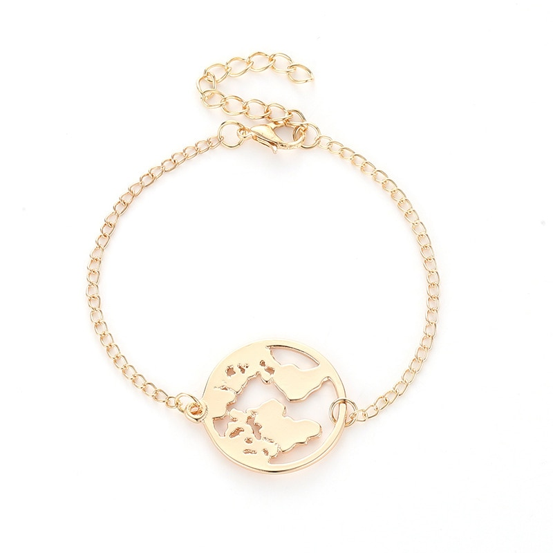 LNRRABC knot Chain Link World Map Bracelets & Bangles Jewelry Globe Bracelet Charm Travel Jewellery