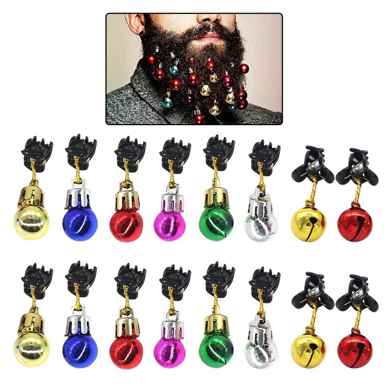 16 шт., 12 лампочек, колокольчики, 4 колокольчика, рождественские украшения с усами, разные цвета, унисекс, забавный подарок для мальчиков, праз...