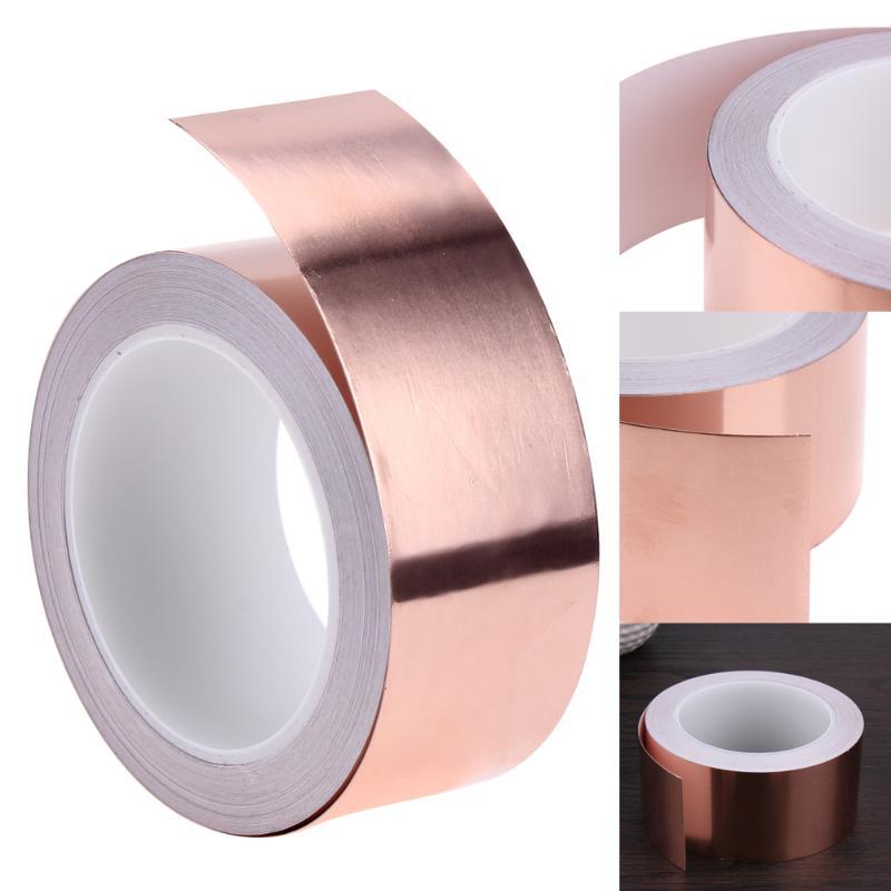 20 metros 5cm lado único conductivo cobre cinta de aluminio de EMI adhesiva escudo de calor resistir cinta