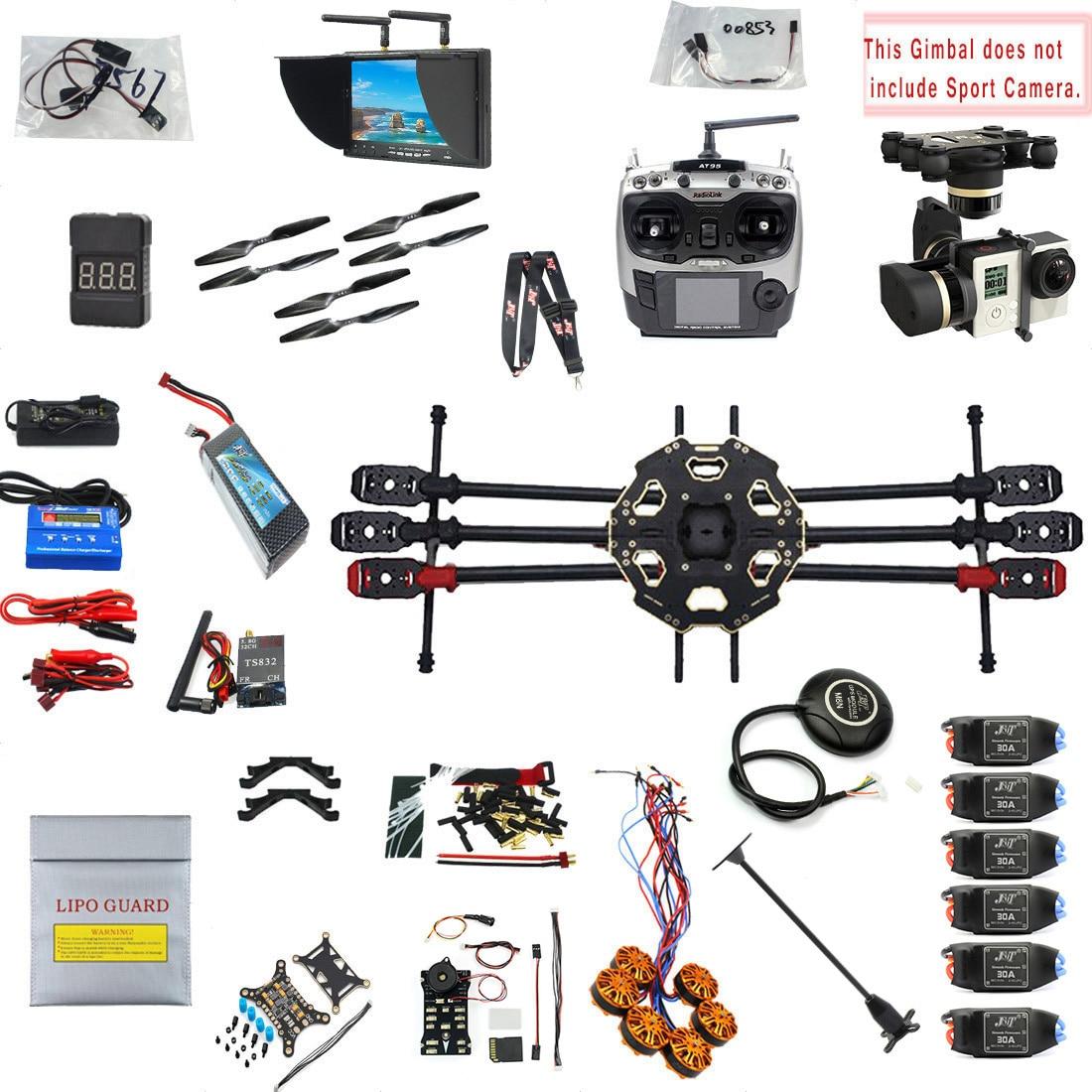JMT 2.4G 9CH F07807-G 680PRO PX4 GPS de Vídeo 5.8G FPV RC Helicóptero RTF Kit Completo DIY RC Zangão combo MINI3D Pro Gimbal