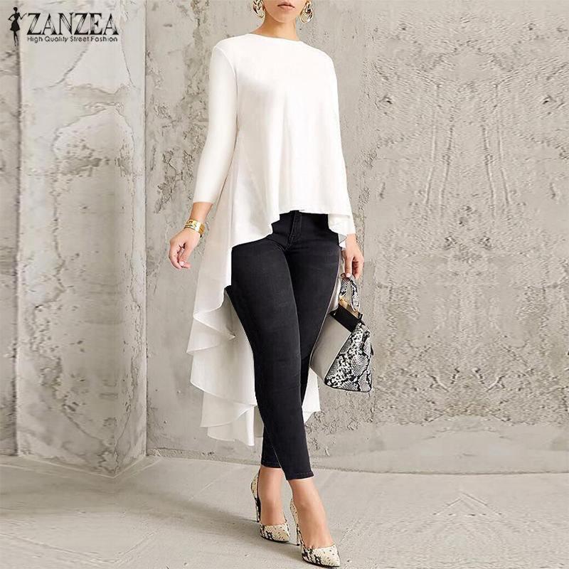 2020 ZANZEA Women's Asymmetrical Swallowtail Blouse Female Pleated Long Sleeve Shirt Solid Blusas Oversized Tunic Tops Chemise