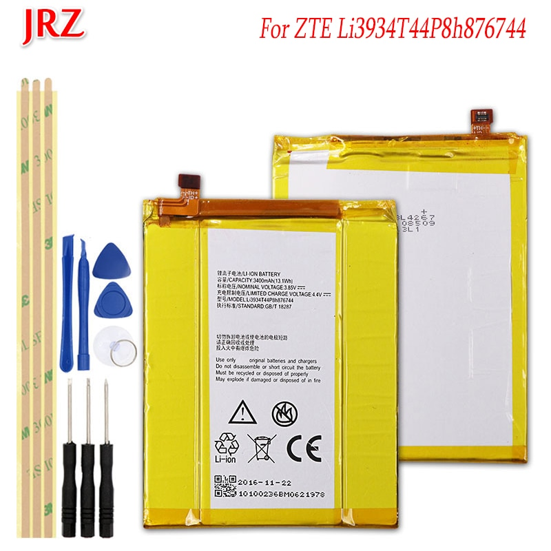 Batería JRZ 3,85 V 3400mAh Li3934T44P8h876744 para ZTE Grand Max 2 Z988 Z981, baterías de reemplazo de teléfono, batería con juego de herramientas