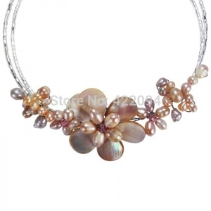 Gradual Flower Pink Pearl Cluster Choker Wrap Necklace