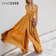 CHICEVER 2020 printemps été femmes robe col en V sans manches taille haute Bow à lacets robes fendues mode vêtements nouveau