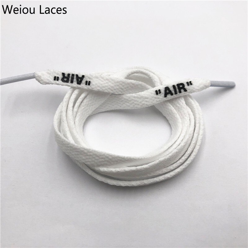 """Weiou OW firmado conjunta plana de una sola capa de encaje de red con impresión """"aire"""" de seda de impresión de cordones de zapatos blanco negro botas cordones"""
