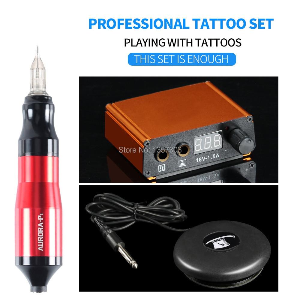 Máquina de tatuaje más vendidos pluma giratoria Mini fuente de alimentación para tatuaje de Pedal suministros de tatuaje envío gratis
