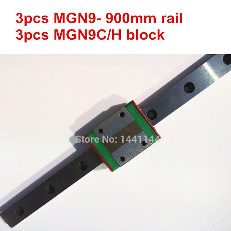 Carril lineal en miniatura MGN9 3 piezas MGN9-900mm riel + 3 piezas MGN9C/MGN9H carro para ejes X Y Z 3d piezas de la impresora
