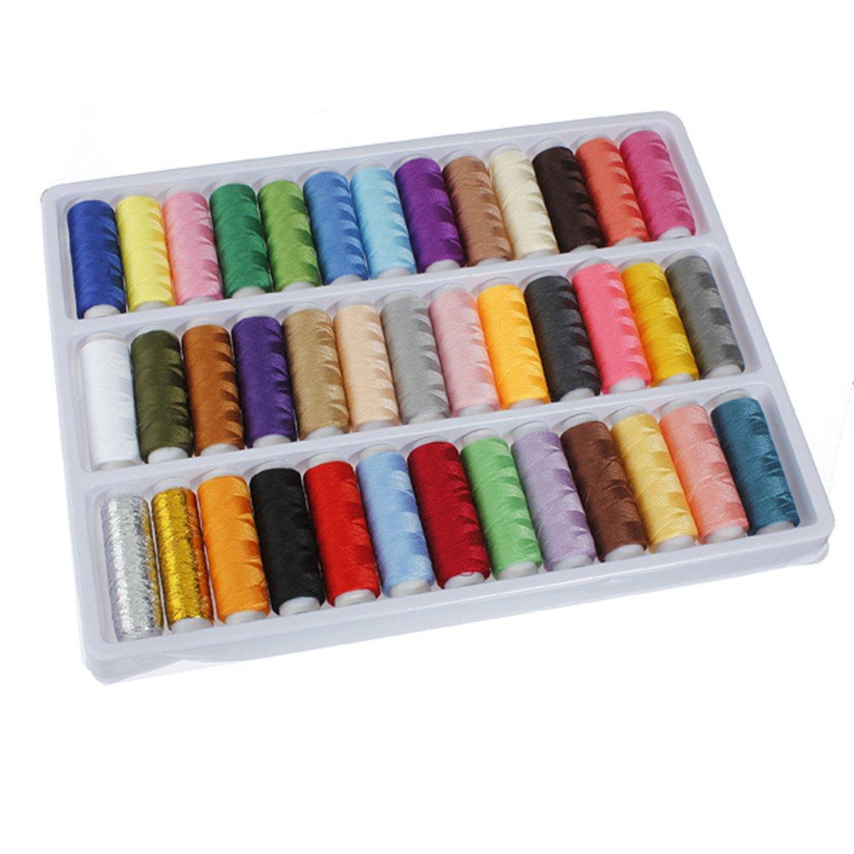 Carretes JEYL 39 de colores surtidos hilo de poliéster para máquina de coser a mano