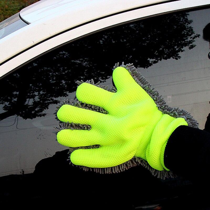 Guantes de lavado de coches de lana fina Chenille guantes de dedo microfibra guante para lavado de coche limpieza Mitt cepillo de lavado paño herramientas de limpieza de coche