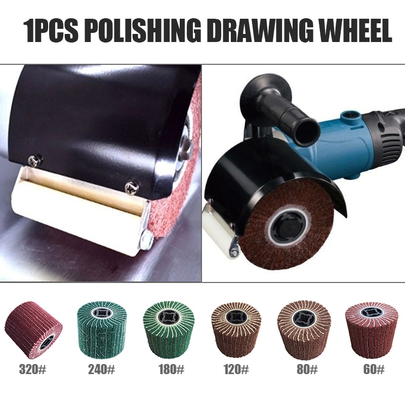 wire drawing machine grinding wire drawing wheel polishing brush polishing wheel brush roller bristle brush grit brush 80 hx6c 60/80/120/180/240/320  Grit Abrasive Polishing Wheel Non-woven Nylon Flap Wheel Brush Wire Drawing Polishing Burnishing Wheel