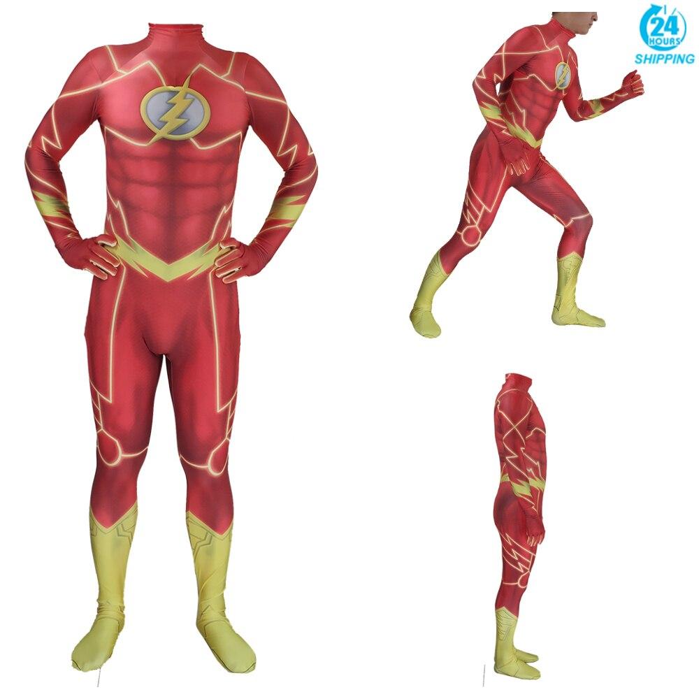 Traje con estampado 3D de Anime para niños y adultos, Flash juego de rol disfraz Zentai, monos, Disfraces de halloween para hombres