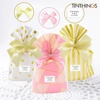 10 pcs gift bag with ribbon bows wedding party favor cookie candy bag birthday pink easter small gift bags packaging plastic opp