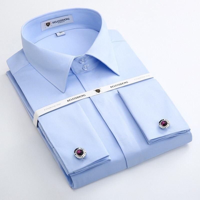 Camisa francesa do vestido do punho dos homens manga longa não ferro sarja sólida elegante camisas do smoking com abotoaduras masculino camisa do casamento