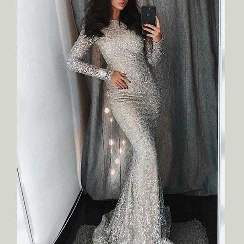 Vestidos largos de lentejuelas de plata de moda de mujer vestidos de fiesta sexis bata ropa mujer elbise mujer de manga larga kleider