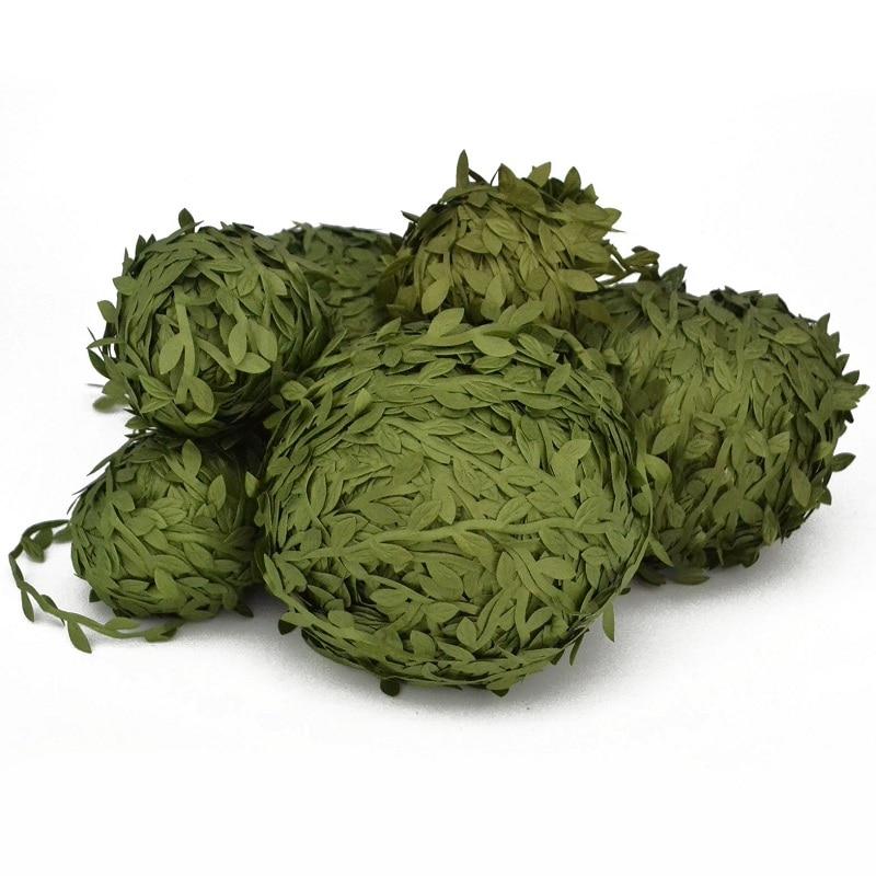 2 rolos (20m) folhas verdes vime folha de seda artificial diy grinalda guirlanda decoração de casamento presente scrapbooking artesanato falso flor