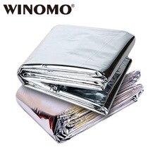 WINOMO-couverture chaude pliable 210x130cm   2 pièces, couverture chaude de survie durgence en extérieur, Film Mylar réfléchissant, étanche et thermique