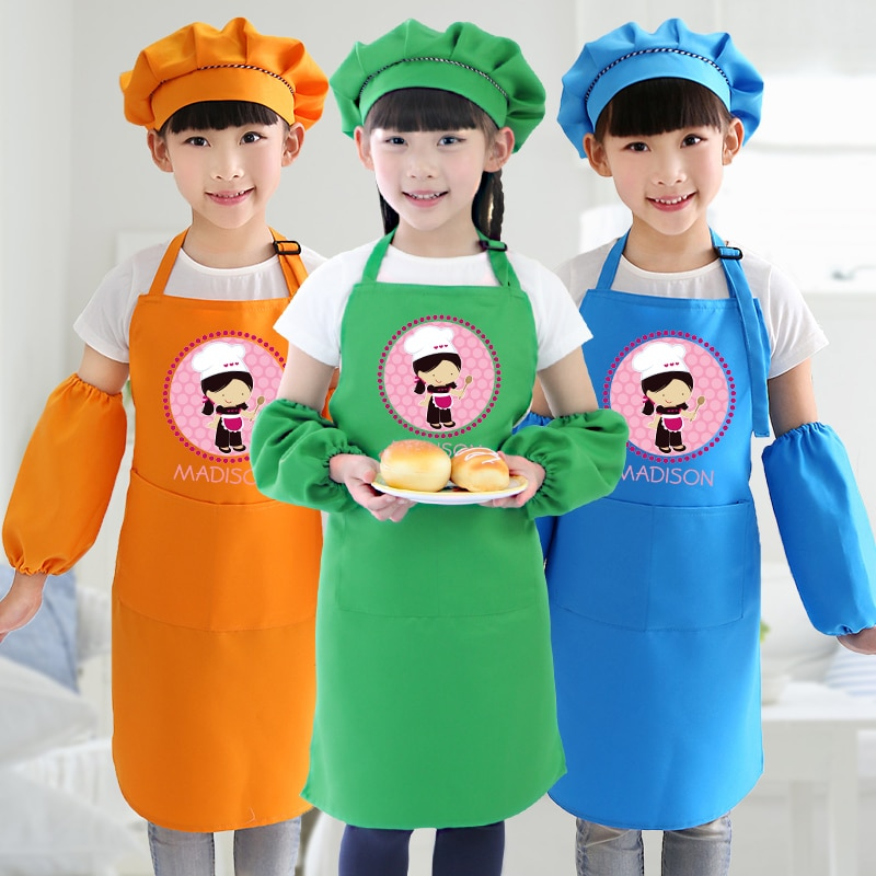 Children's custom apron kitchen baking painting class home cleaning sleeve hat kids apron drawing print logo enlarge