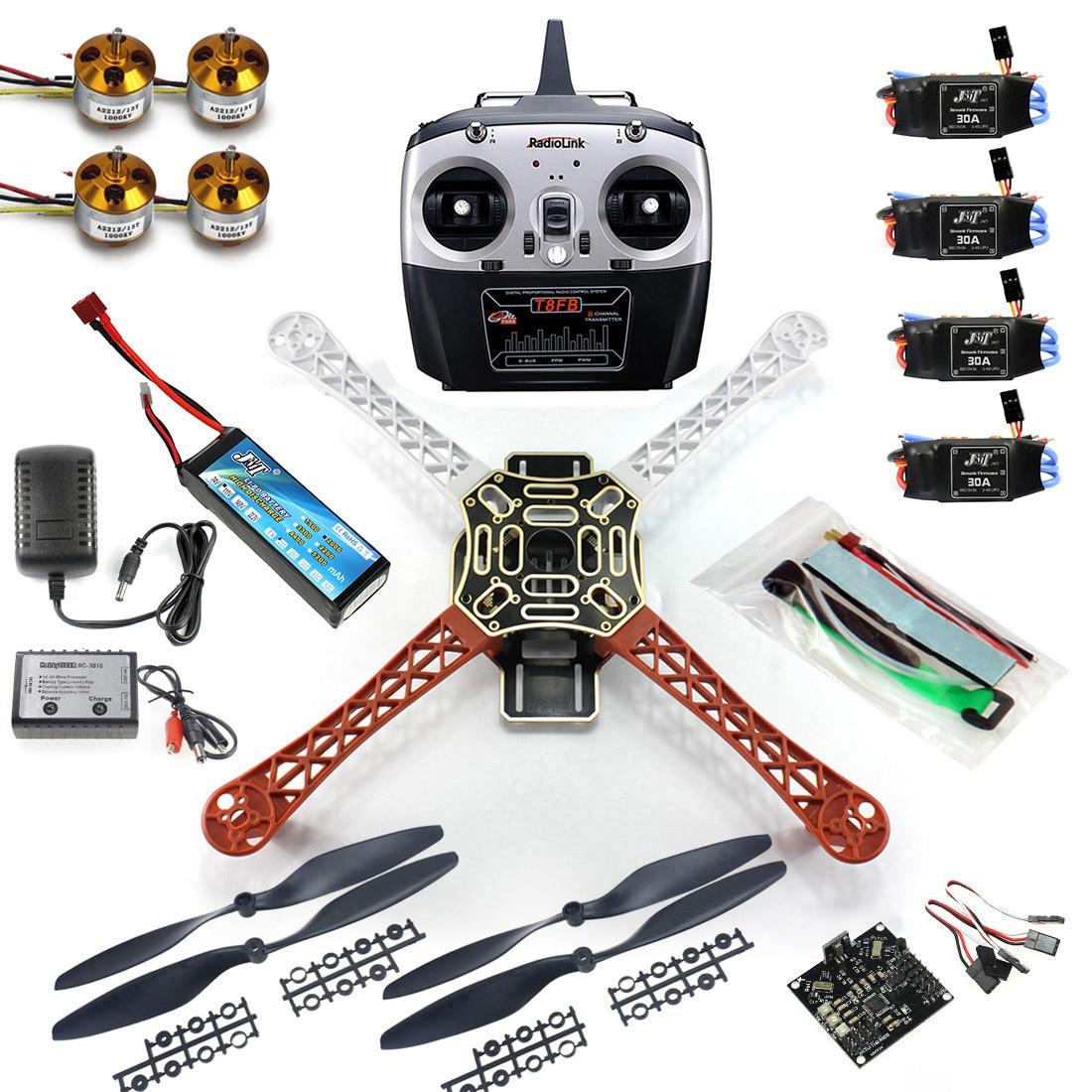 JMT 4 eje RC Multi QuadCopter Drone RTF ARF KK V2.3 placa de circuito 1000KV Motor 30A CES Lipo F450 Kit de marco de T8FB TX