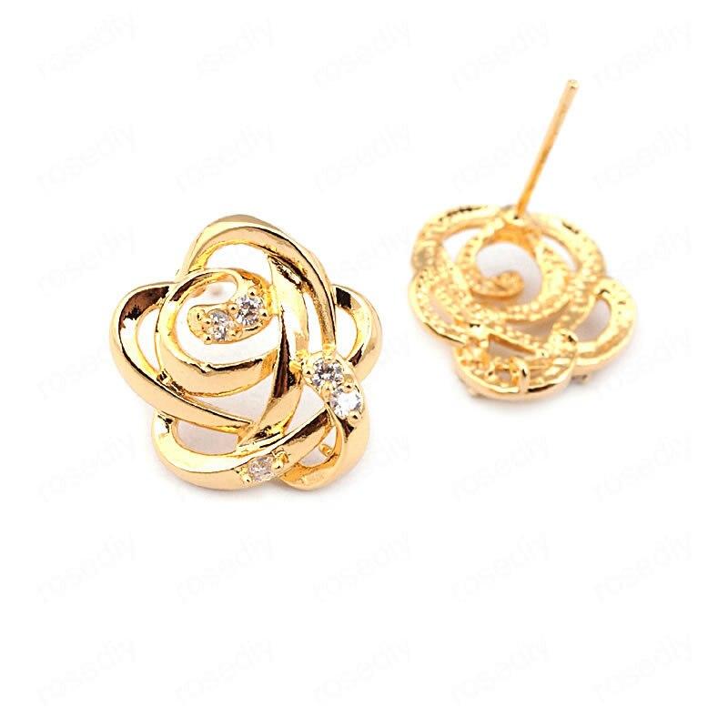 4 Uds flor 16*15MM 24k Color oro latón zirconio Rosa flor Stud pendientes Pins alta joyería de calidad hallazgos Accesorios