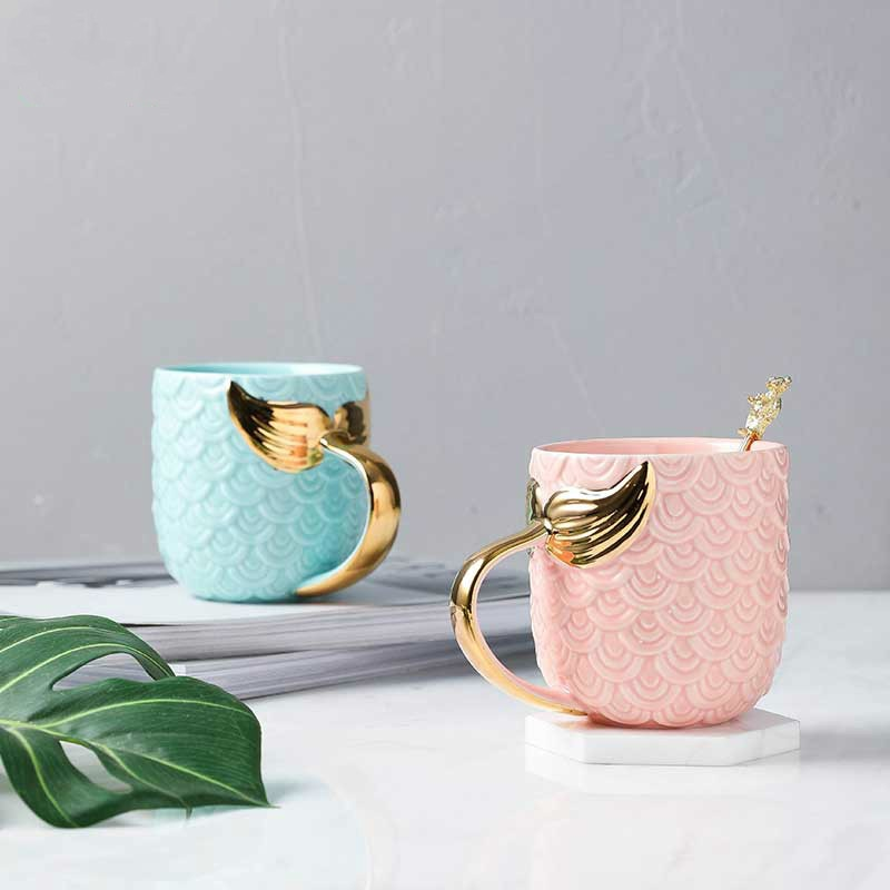 400ml Personalized Gold Mermaid Mug Ceramic For Coffee Milk Big Travel Tea Cup Gift For Mom Boss Girlfriend Tableware Pink Decor