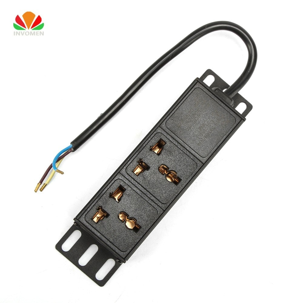 1U 10A 2 Unit Universal Socket PDU Network Cabinet Rack Power Strip Distribution Outlet With terminal block For EU US Plug