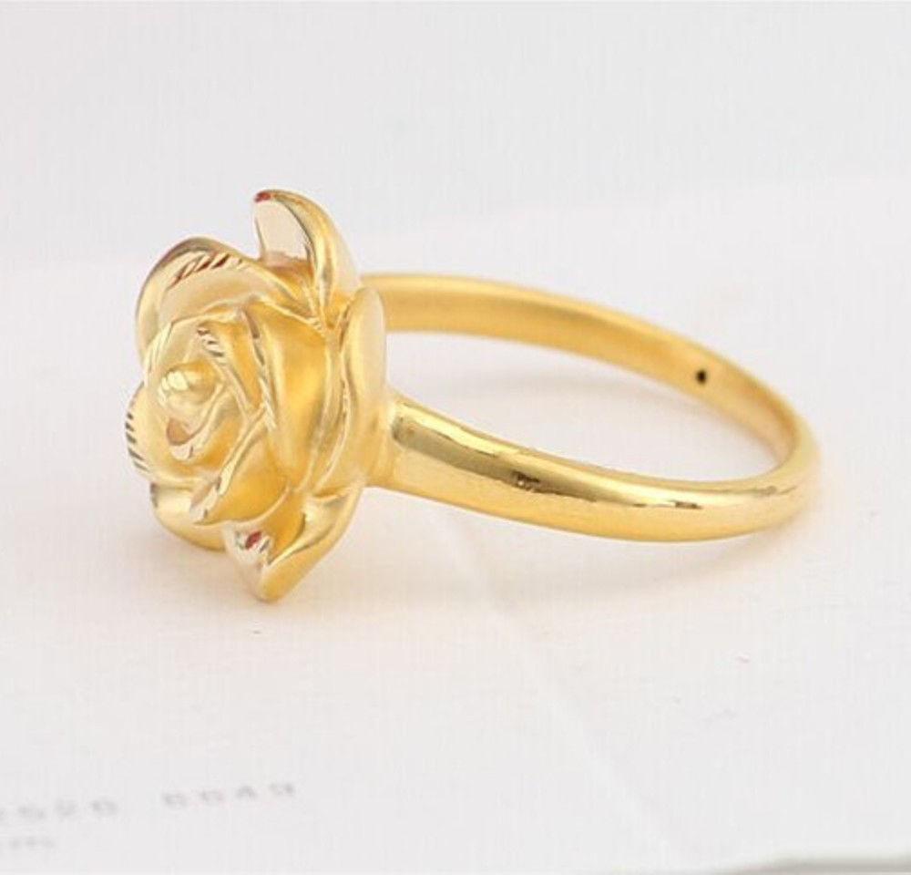 أصيلة 999 24K خاتم من الذهب الأصفر 3D روز تصميم شريط خاتم 1 قطعة حجم: 6.5 و 7.5 و 8