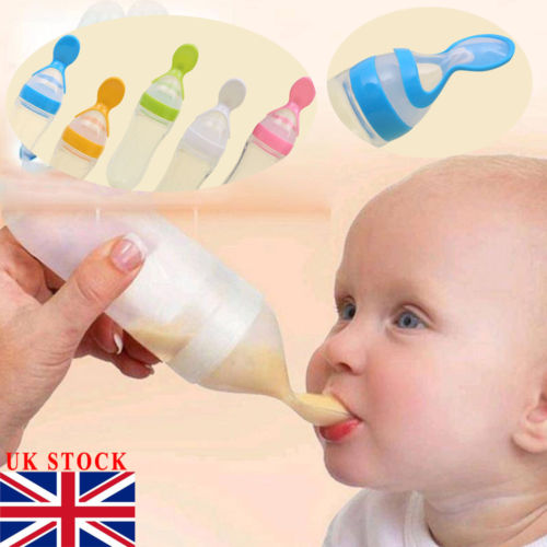 90ML Lovely Safety Infant Baby Silicone Feeding With Spoon Feeder Food Rice Cereal Bottle For Best Gift