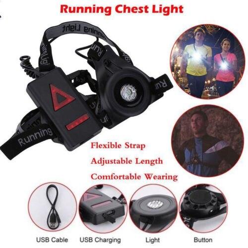 Lámpara LED impermeable para correr en el pecho, luz de advertencia para caminar, linterna de seguridad, lámpara de alarma de Flash nocturno