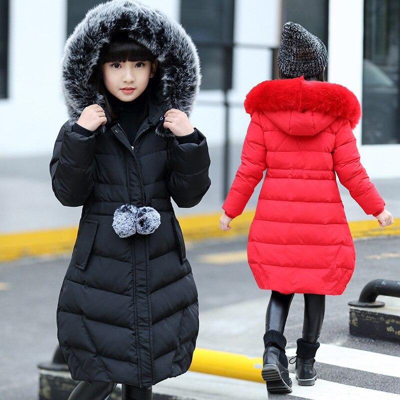 jaqueta de inverno infantil com capuz de pele blusa de neve grossa acolchoada de algodao natal 2020