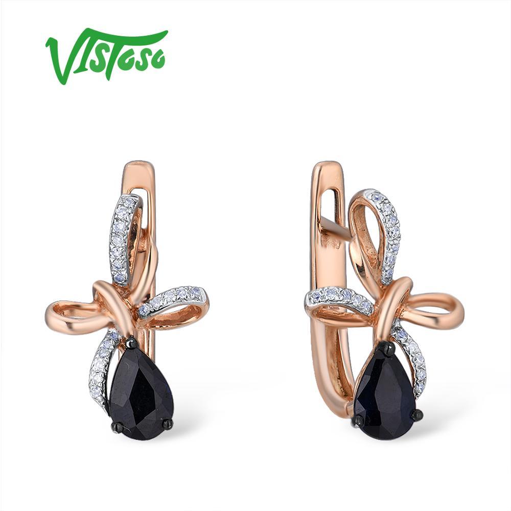 Vistoso brincos de ouro para mulher 14k 585 rosa ouro cintilante safira azul diamante de luxo casamento banda aniversário jóias finas