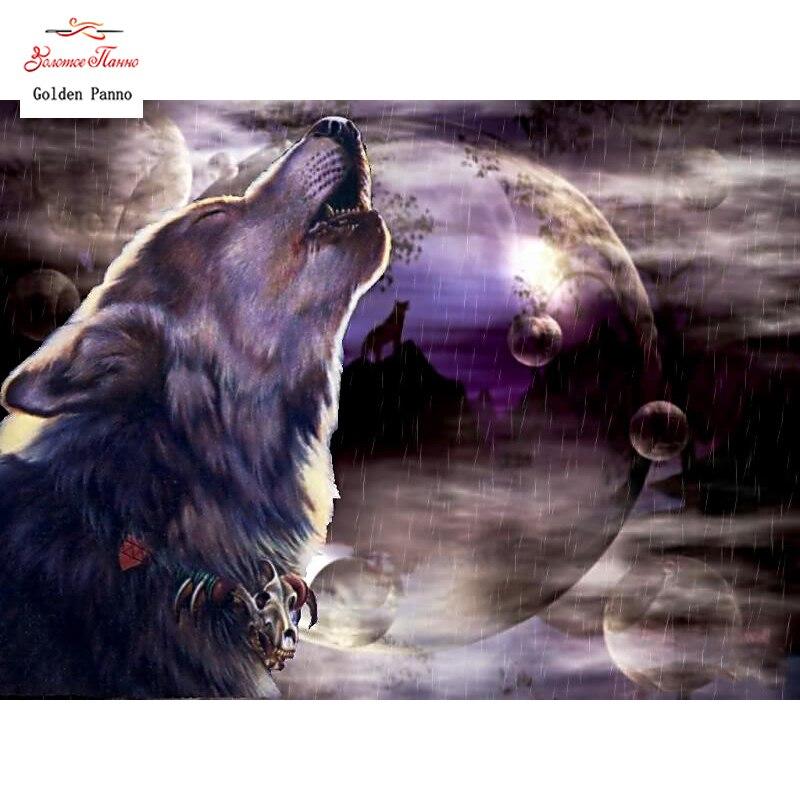 """Алмазная мозаика 5D DIY картина &quotВоющий волк"""" вышивка крестиком горный хрусталь"""