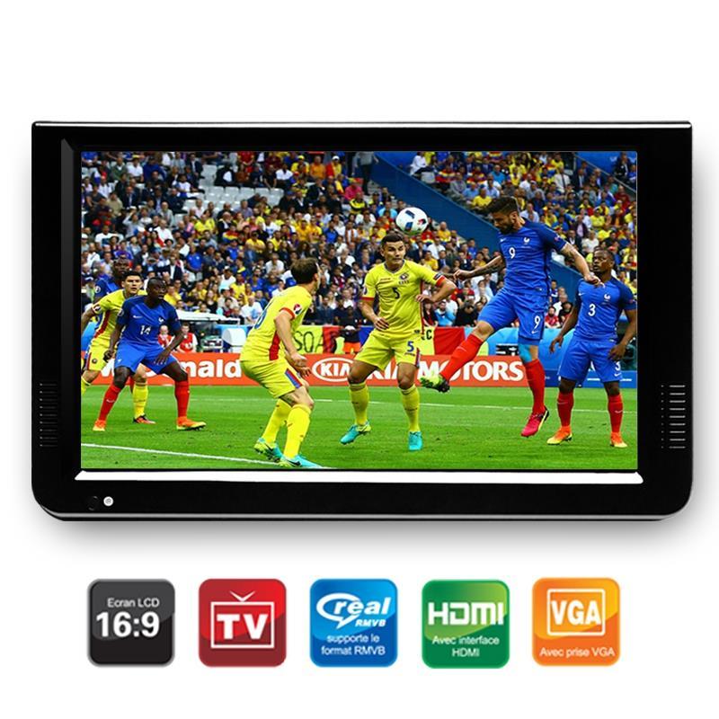 Portátil de 10 pulgadas Tft Led 1080P Hd Pvr Dvbt2 analógico Digital Mini Tv coche Tv Usb lector de tarjetas TF nos enchufe