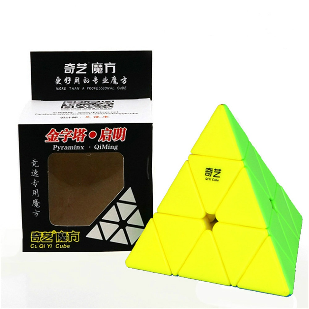 Qiyi, 3x3x3, cubo mágico de velocidad piramidal, rompecabezas de cubo mágico profesional, juguetes educativos coloridos para niños