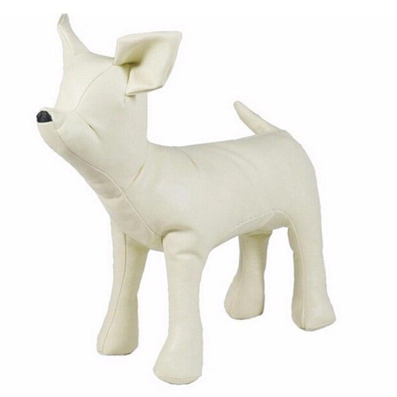 Maniquís de perro de cuero de Posición Vertical modelos de perro juguetes tienda de animales de mascotas maniquí de exhibición Blanco/negro
