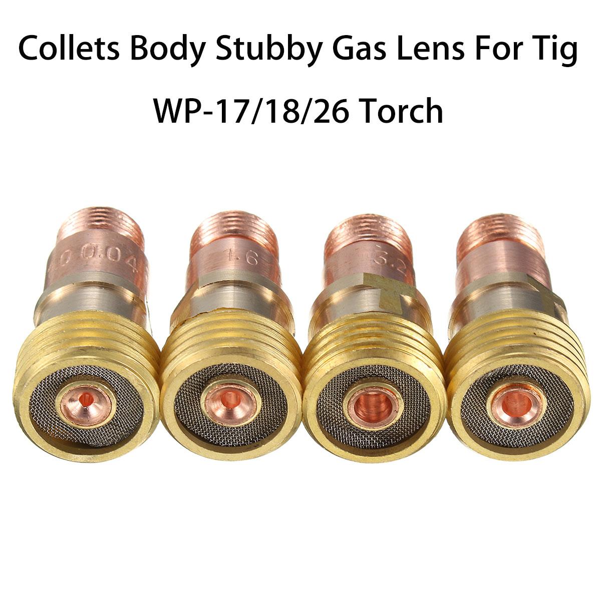 Forgelo Messing Spannzangen Körper Stubby Gas Objektiv Anschluss Mit Mesh Für Tig WP-17/18/26 Fackel Schweißen Zubehör