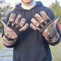 thicken fleece warm camo full finger gloves men women winter outdoor climbing hunting cycling fishing tactical training mittens