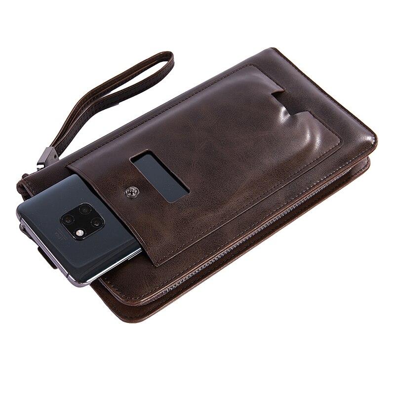 Vintage Business Clutch Wallets for Men Long Credit Card Holder Wallet Phone Pack Casual Zipper Coin Purses Wristlet Money Bag
