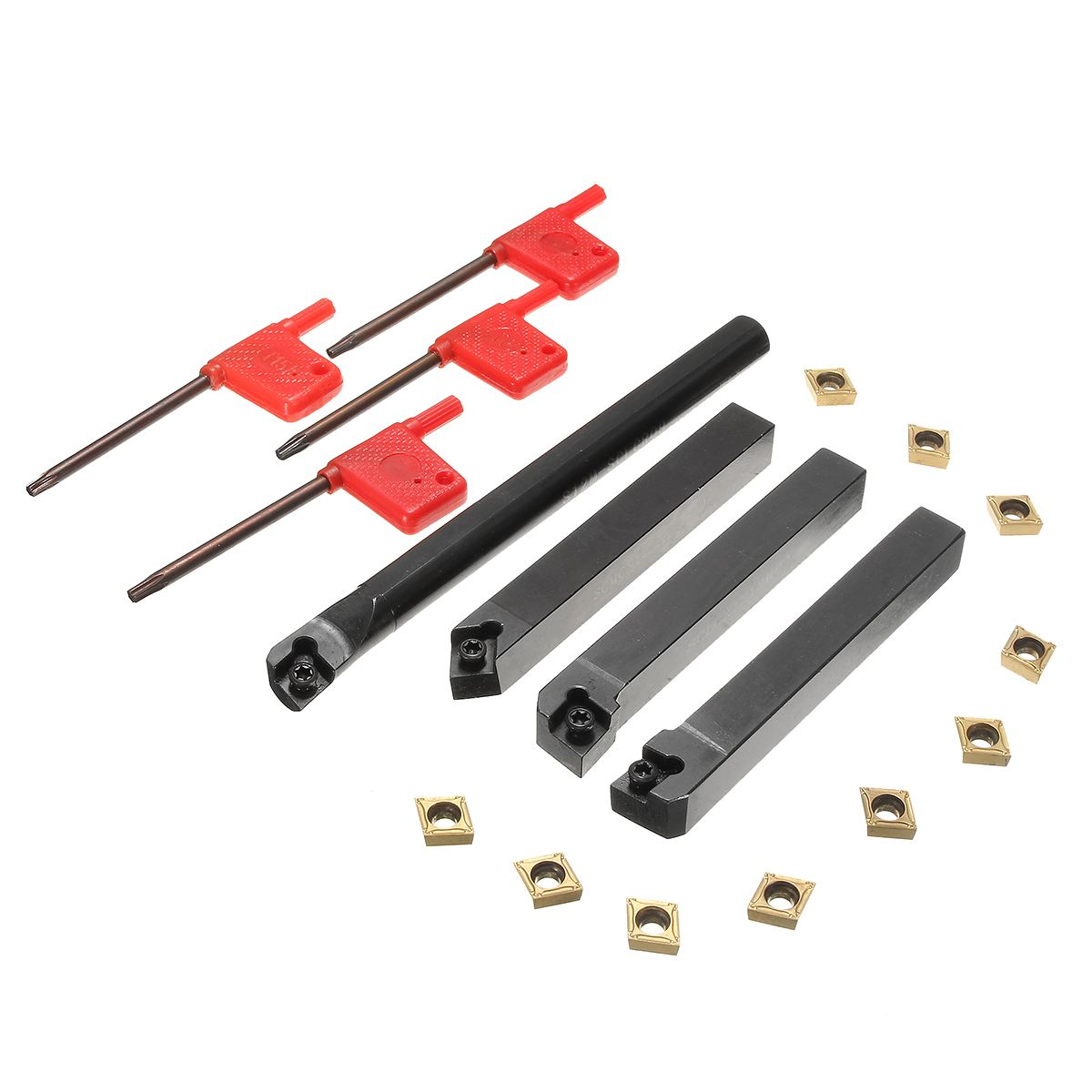 10 piezas CCMT09T304 inserto de carburo de + 4 piezas torno de inflexión de la herramienta del sostenedor Set + 4 piezas llave inglesa para torno de inflexión de la juegos de herramientas