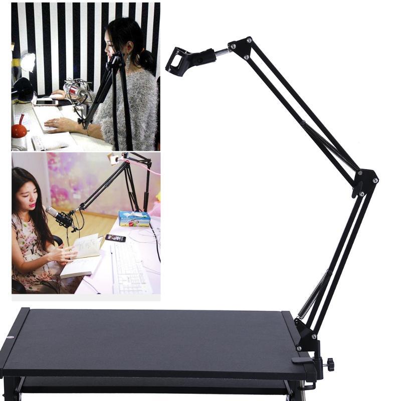 Telefone microfone ajustável suporte dobrável microfone receptor de mesa rádio gravação transmissão pára-brisa montagem filtro suporte
