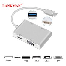 Rankman type-c Thunderbolt 3 USB C vers HDMI 4K VGA DVI USB 3.0 adaptateur pour Macbook TV Samsung S8 10 Dex Huawei mate30 projecteur