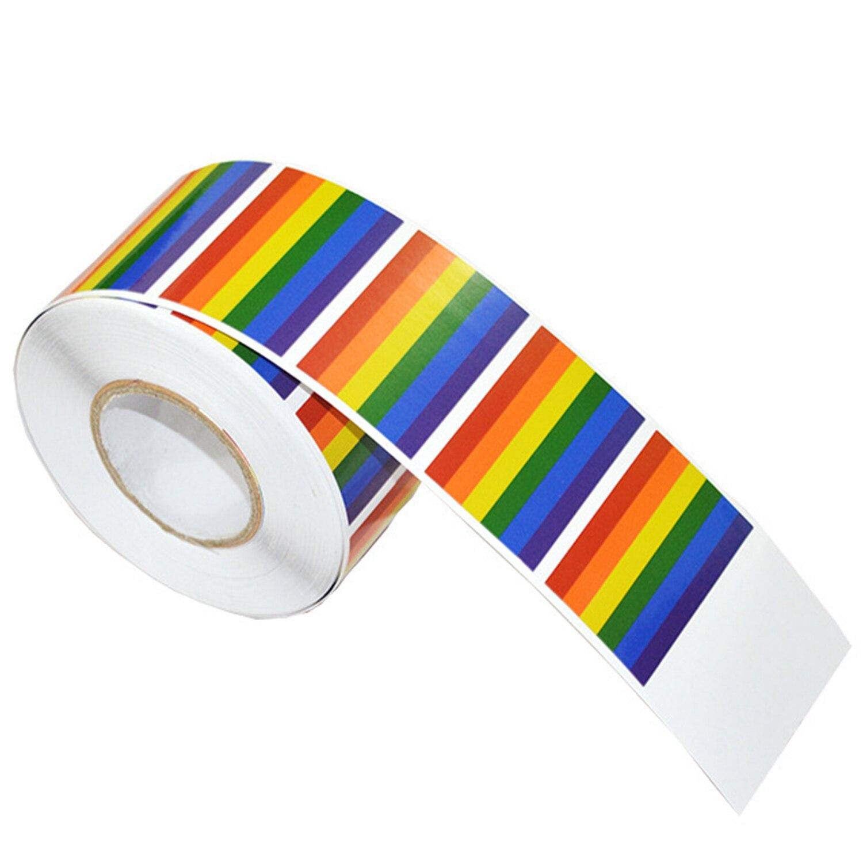 500 штук радужных наклеек на рулон, поддержка ЛГБТ-причин, этикетки типа «флажок» для подарков, поделок, запечатывания конвертов, 1,2 X