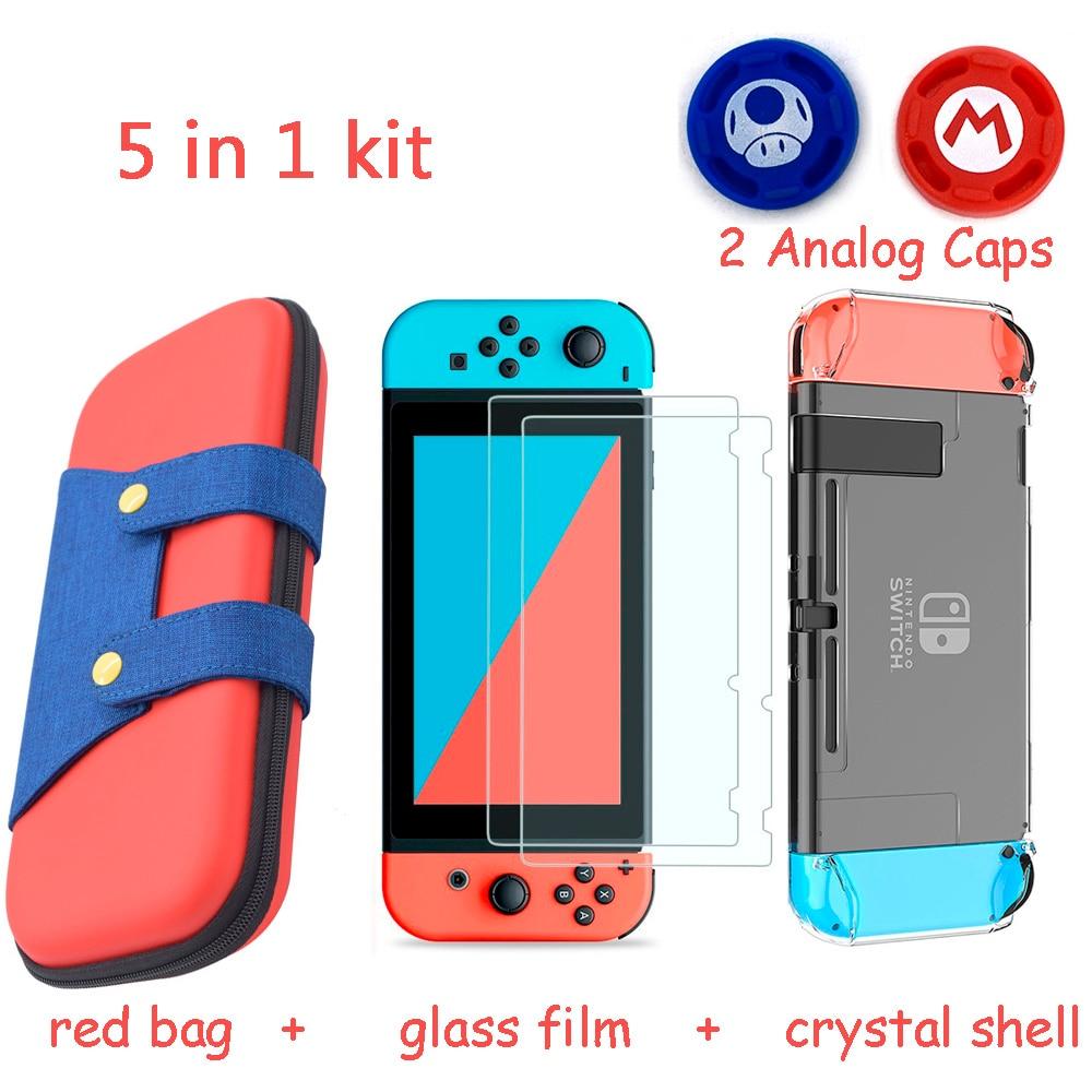 5 En 1 consola de juegos bolsa de almacenamiento para Nintend Switch NS caso para Nintendo interruptor + Hard Shell + de templado de vidrio de película + 2 agarre tapas