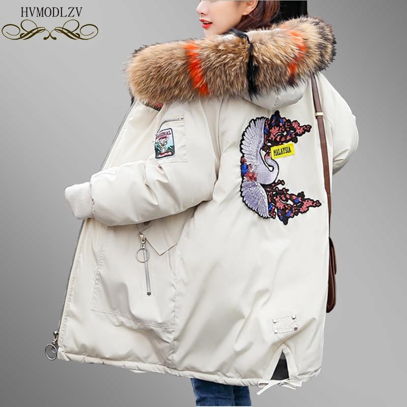 Женские зимние парки, зимние женские парки, хлопковая утепленная куртка с меховым воротником и вышивкой, теплая свободная ватная куртка PJ339