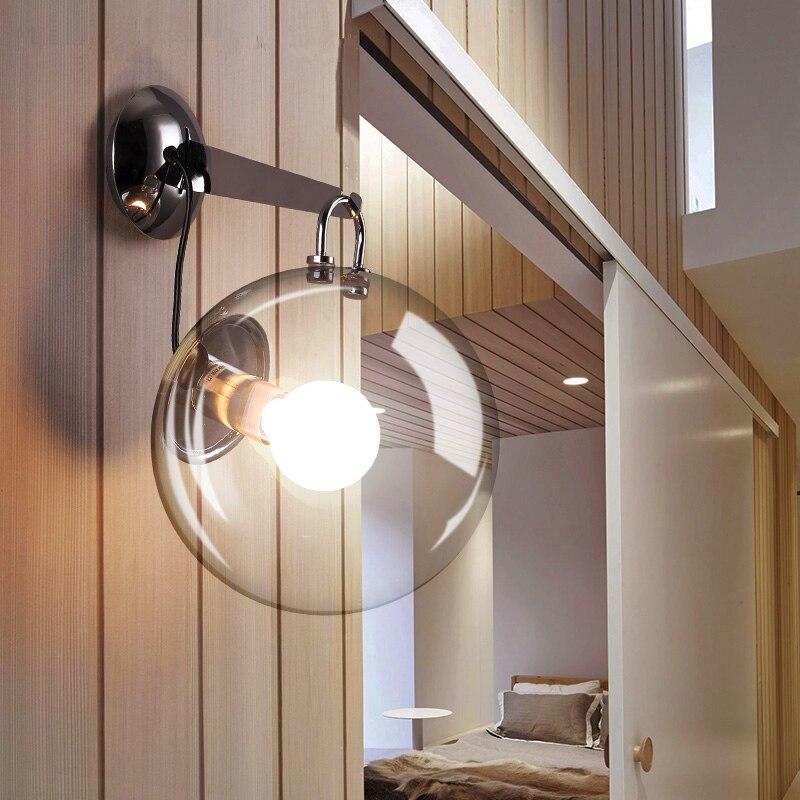 Bola de vidro moderna led sala estar arandelas parede nordic quarto espelho parede luz deco casa iluminação corredor lâmpadas parede