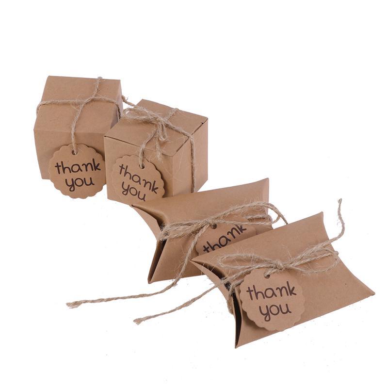 20 piezas cajas creativas de dulces con tarjeta de agradecimiento Embalaje de papel golosinas de regalo materiales para fiestas en cajas (cuadrado + forma de almohada)