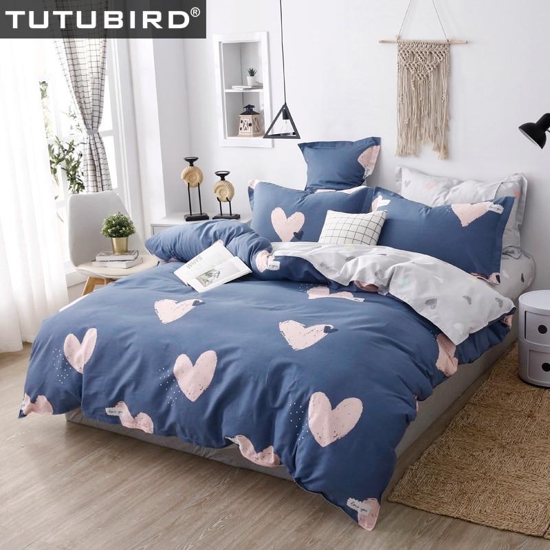 Azul e rosa em forma de coração conjunto de cama crianças 100% algodão dos desenhos animados boêmio meninas floral capas edredão folha linho rainha tamanho