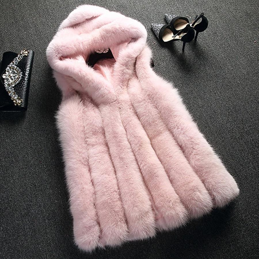 Chaleco de piel nueva, abrigo de piel de zorro de imitación, chaleco con capucha, Raya vertical, chaleco largo medio, chaqueta de invierno para mujer, prendas de vestir, abrigo femenino